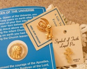 75% of this item, enter LOVE2016 at checkout. Religious Medals, Gold Religious Medals, Brooch, Angel Pin, Lapel Pin, Cross, Gold Cross