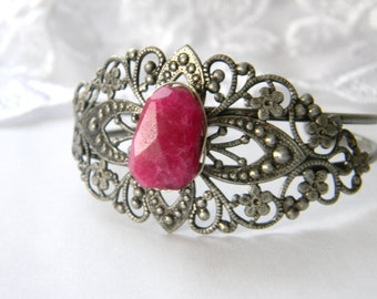 Ruby Quartz Antique Silver Cuff Bracelet. Pewter. Scroll Pattern. Wire Wrapped. Made in Maine U.S.A. gift for her boho unique