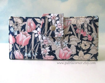Handmade women wallet - Beautiful blue garden in pastel colors - clutch / custom wallet - gift ideas for her - birthday gift