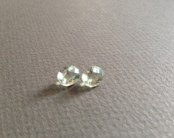 Faceted Green Amethyst Gemstones - Matched Pair