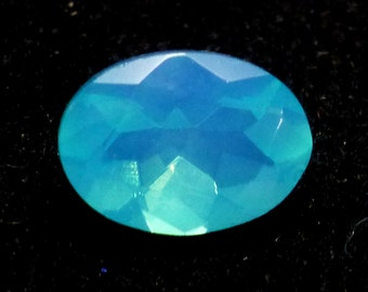 Welo Opal Loose Gemstone Dark Blue Ethiopian 7x5 Oval Cut Designer Carribean Aqua Turquoise Flash Glow Faceted Gemstone RARE Dyed One