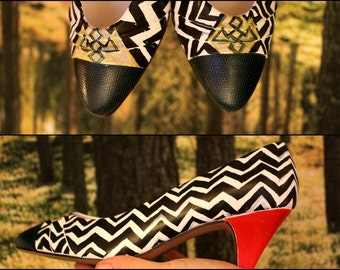 Twin Peaks / Black Lodge / Hand Painted /  Vintage Heels / 6.5