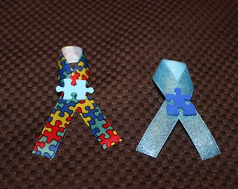 Autism Awareness Puzzle Piece and Ribbon Pin
