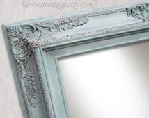 "DECORATIVE WALL MIRRORS For Sale Home Decor Baroque Mirror 31""x27"" Teal Green French Country Mirror Ornate Shabby Chick Framed Vanity Mirror"