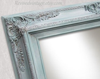 """DECORATIVE WALL MIRRORS For Sale Home Decor Baroque Mirror 31""""x27"""" Teal Green French Country Mirror Ornate Shabby Chick Framed Vanity Mirror"""