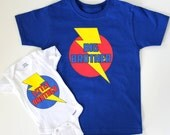 NEW Big Brother and New Baby Gift - Includes 2 Superhero T-SHIRT and Onesie Iron On Design Decals - Sibling Gift