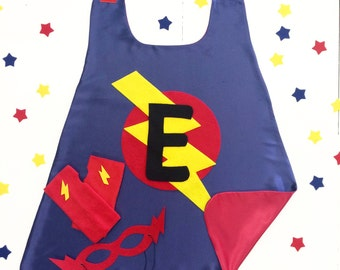 READY to SHIP - Super Hero Cape Set for Kids - Personalized Gift - Choose the Initial - Includes Cape + Bolt Mask + Power Gloves - Kids Gift