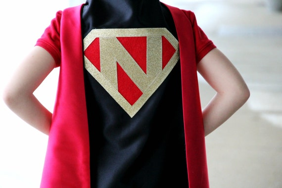 Personalized SUPERHERO CAPE with Custom Gold Shield - Fast Delivery - Personalized Initial - Kid Costume - Kids Superhero Party