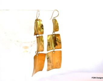 Brass boho chic earrings, gold brass artisan gypsy earrings,extra long earrings, gift under 40