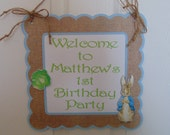Peter Rabbit  Welcome Door Sign-Birthday, Baby Shower, New Baby Beatrix  Potter bunny  Easter 1st birthday party decorations baby shower