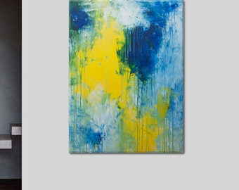 Abstract Painting-Sun bathing in the sea-Large seascape yellow blue painting Elena Petrova