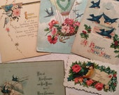 Blue Bird Postcards Bird theme Paper Ephemera Lot of 6