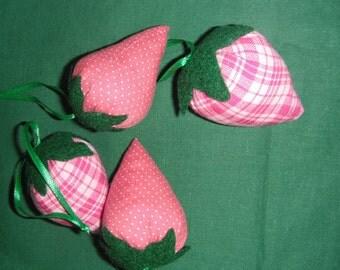 Mauve Strawberries Pincushions/Ornaments / Strawberry Decor / Fabric Strawberries