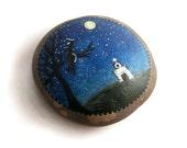 Folk Art Primitive Hand Painted Lake Stone Night Witch Silhouette Church Moon Tree Garden Stone Garden Rock