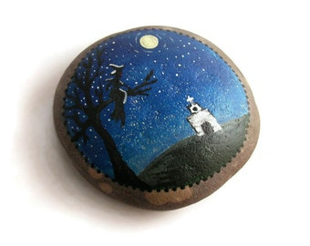Folk Art Primitive Hand Painted Lake Stone Night Witch Silhouette Church Moon Tree Garden Stone Garden Rock