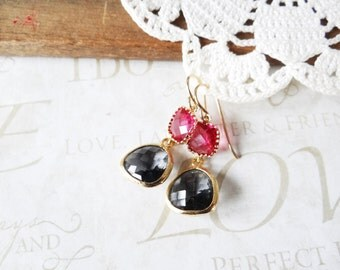 NIGHT life fuchsia and charcoal grey glass crystal drop chandelier earrings B1 (gold)   magenta   pink   charcoal   dancing   date night