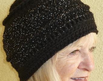 Crochet hat Winter Accessories black silver women's crochet hat women's fashion