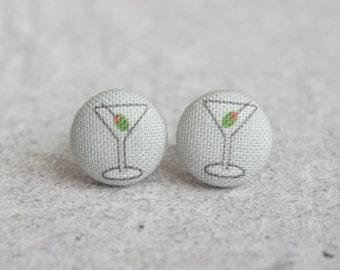 Martini Fabric Button Earrings