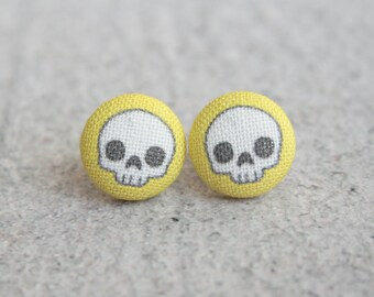 Adorable Skulls in Yellow, Fabric Button Earrings
