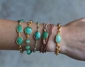 SALE Chrysoprase Stone Bracelet with Gold Chain - BG01