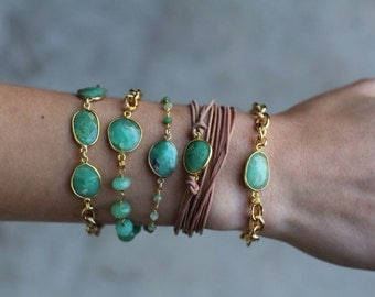 SALE Chrysoprase Stone Bracelet with Gold Chain - BG01