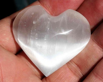 Selenite Heart Stone Polished Light Filled Crystal