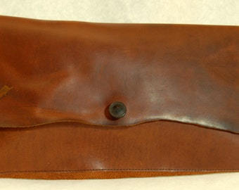 SALE 20 % OFF Peace Clutch no. 166 cinnamon colored water proof leather