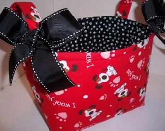 Dog Puppy Paws Organizer bin / Fabric Basket / I woof you - Valentines Day