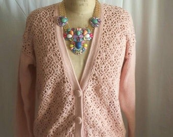 Pretty in pink vintage cardigan
