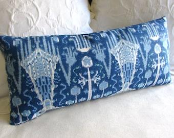 BOMBAY COBALT  designer fabric accent lumbar Bolster Pillow 12x26 insert included