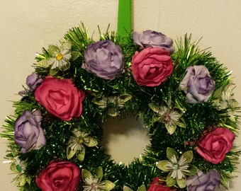 Christmas Wreath with 3d Origami flowers with lights