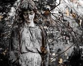 Fine Art Photography, Cemetery Photo, Prayer Art, Guardian Angel, Condolence Gift, Gothic Art, Steampunk, Print, Fall, Modern Wall Decor