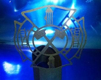 DIY Fireman emblem stand up centerpiece
