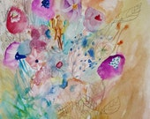 Lonely Violet- Original Floral Painting- 11x15- Mixed Media Abstraction