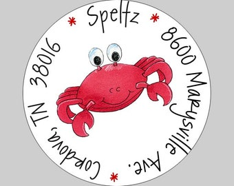 20 Personalized Under the Sea Crab Address Labels