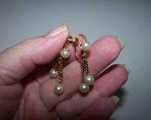 Clearance A & Z 12k Gold Pearl Dangle Earrings