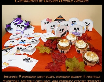 Digital Printable Ghostie Halloween Party Kit- 50% Off for a limited time!