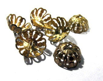 11mm Brass Gold BEAD Caps Six (6) Filigree Bead Caps with Loops 11mm VINTAGE Jewelry Making Findings Blanks Bead Supplies (R12)