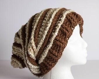 Crochet Hat, Beanie, Slouchy Ski Hat, Crochet Beanie, Crochet Shaggy Beanie, Shaggy Hat, Adult Textured Ribbed Rasta, Beret