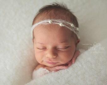 Baby Pearl Headband, Ivory Newborn Headband, Children Tieback, Mohair Headband, Dainty Headband, Baptism Headband, Baby Girl Photo Prop
