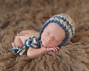 Baby Boy Hat, Newborn Boy Brown Crochet Hat in Brown and Blue, Earflap Hat, Newborn Props, Tassel Hat, Baby Boy Props, RTS Props