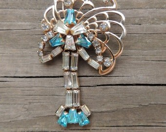 Rhinestone Brooch Pin by Phyllis 1940s White & Aqua Blue Designer Vintage Jewelry