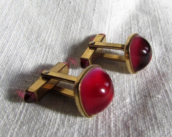 SALE 10% Off Vintage Bold KREISLER Berry Red Rose Cabochon CUFFLINKS Modern Valentine!