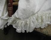 One Pair of Ruffled Bath Towels in Heavy Weight Washed Linen-Large Bath Towels in Heavy Washed Linen-Decorative Linen Bath Towels
