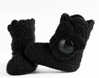 Black Infant Crochet Shell Wrap Boots- Choose Your Size
