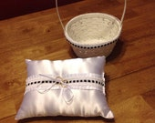 Black and White Ring Bearer Pillow   and Matching Flower Girl Basket