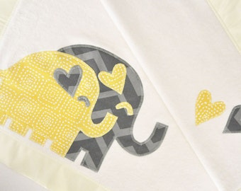 Organic Baby Blanket with Elephants -- Yellow and Gray -- Personalized Free
