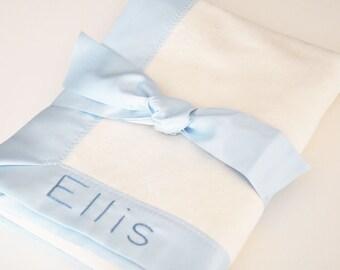 Organic Baby Boy Blanket -- Light Blue  -- Free Personalization