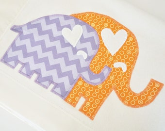 Organic Baby Blanket with Elephants -- Orange and Lavender -- Personalized Free