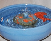 "REDUCED - Ceramic Cat Fountain/Pet Fountain, Foodsafe -  ""Spray Play"" - 11.25 Inch Diameter"